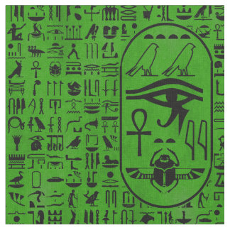 Hieroglyphics Green Fabric