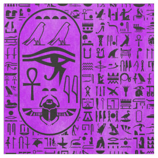 Hieroglyphics Purple Fabric