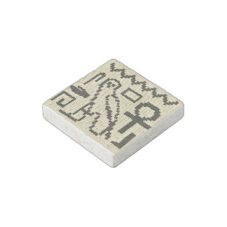 Hieroglyphs Crochet Print on Marble Stone Magnet