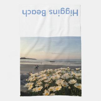 Higgins Beach Daisies and Surfers Tea Towel