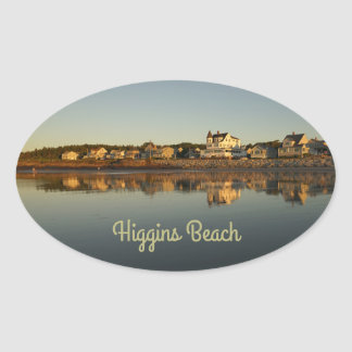 Higgins Beach Morning Reflection Oval Sticker