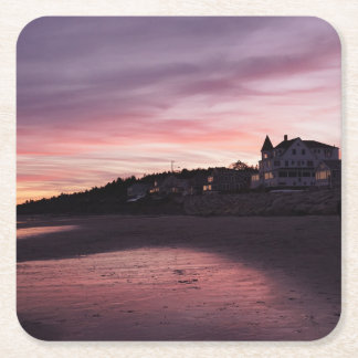 Higgins Beach Sunset Square Paper Coaster