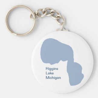 Higgins Lake, Michigan Basic Round Button Key Ring