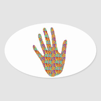 HIGH5 HighFive HIfi dots n circles Graphic Art Soc Oval Sticker