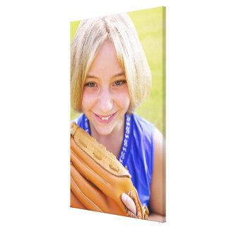 High angle portrait of a softball player smiling canvas prints