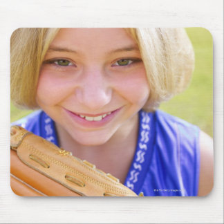 High angle portrait of a softball player smiling mouse pads