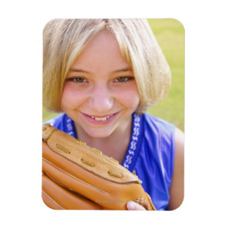 High angle portrait of a softball player smiling rectangular photo magnet