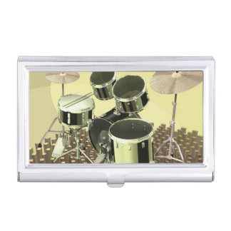High angle view of a drum kit business card holders