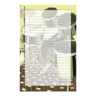 High angle view of a drum kit personalized stationery