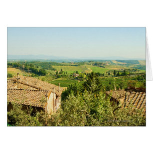 High angle view of houses with vineyard in the
