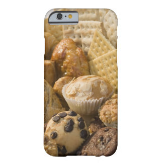 High angle view of muffins and crackers in a iPhone 6 case