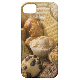 High angle view of muffins and crackers in a iPhone 5 covers