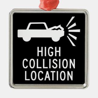 High Collision Location, Traffic Sign, Canada Metal Ornament