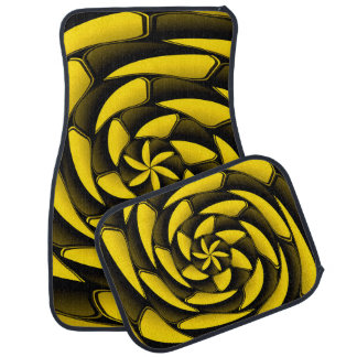 High contrast black and yellow car mat