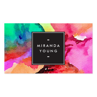High Contrast Colorful Abstract Watercolor Art Pack Of Standard Business Cards
