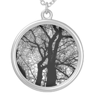 High Contrast Tree Round Pendant Necklace
