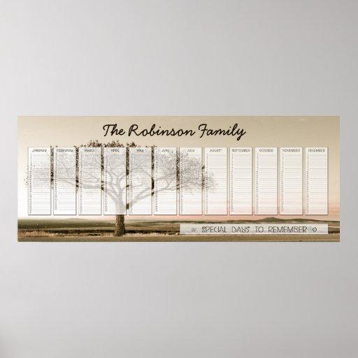 High Country Family Perpetual Calendar Custom Poster