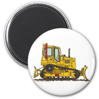 High Drive Bulldozer Dirt Mover Construction Magne 6 Cm Round Magnet