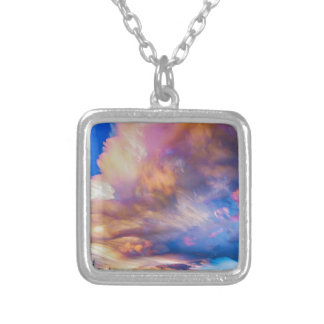 High Elevation Forest Sunset Sky Timed Stack Silver Plated Necklace