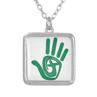 HIGH FIVE 5 TO GEOCACHING SILVER PLATED NECKLACE