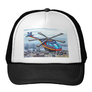 High Flying Helicopter Over Highways Cap