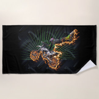 High flying motocross rider AND CHECKERED FLAGS Beach Towel