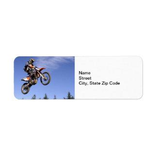 High flying motocross rider return address label