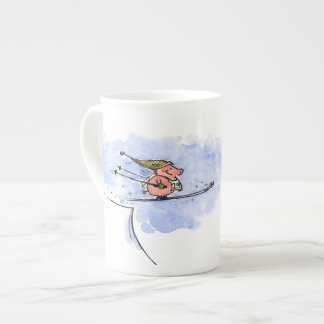 High Flying Pig - Ski Jump Pig Athlete Tea Cup
