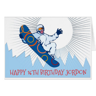 High flying snowboarder birthday card