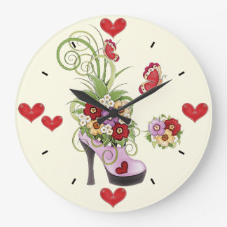 High Heel, Flowers, Hearts and Butterflies Clock