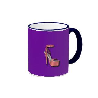 High Heel Ladies Shoe Pink Shiny Mug