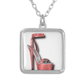 High Heel Ladies Shoe Pink Shiny Square Pendant Necklace