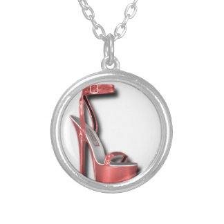 High Heel Ladies Shoe Pink Shiny Custom Necklace