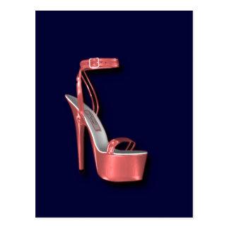 High Heel Ladies Shoe Pink Shiny Postcard