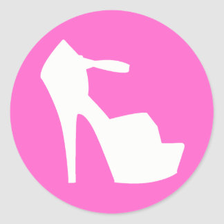 HIGH HEEL - PUMP IT UP SASSY PINK CLASSIC ROUND STICKER