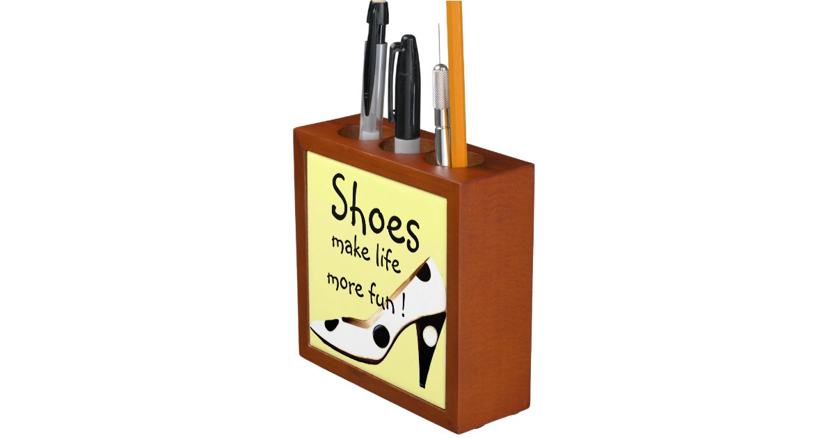 High Heel Shoe Black White Pencil Holder Zazzle