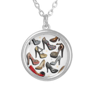High Heel Shoe Collage Sparkle Fashion Pumps Round Pendant Necklace