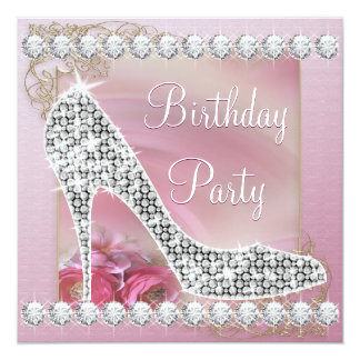 High Heel Shoe Dusty Pink Birthday Party Card