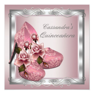 "High Heel Shoe Pink Rose Quinceanera 5.25"" Square Invitation Card"