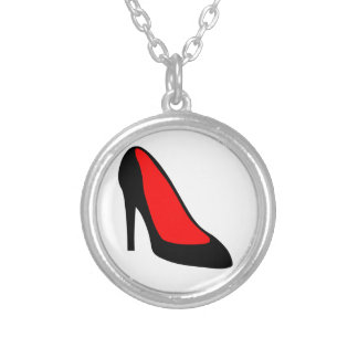 High Heel Shoe Round Pendant Necklace