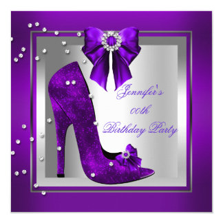 High Heel Shoe Silver Purple Birthday Party Card