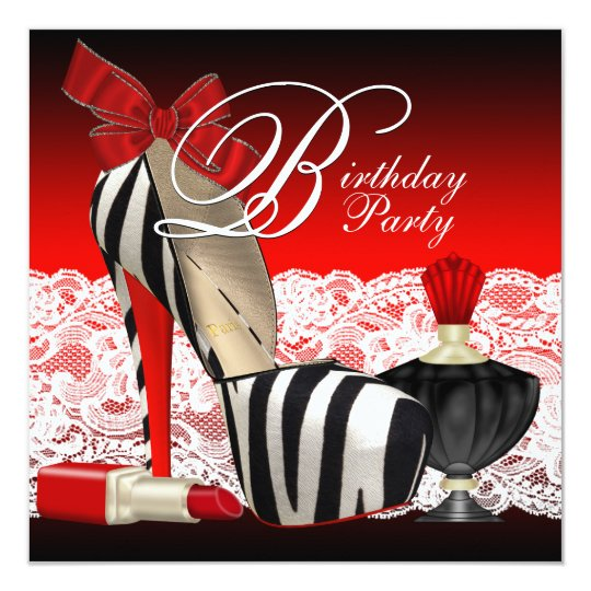High Heel Shoes Black Red Zebra Party Card