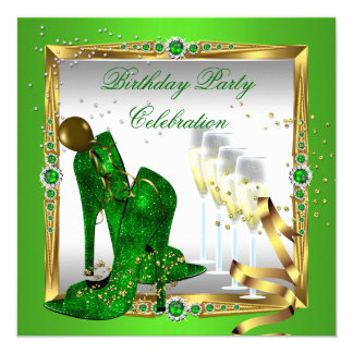 High Heel Shoes Champagne Green Gold Silver 2 5.25x5.25 Square Paper Invitation Card