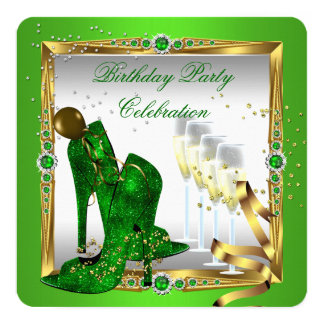 """High Heel Shoes Champagne Green Gold Silver 2 5.25"""" Square Invitation Card"""