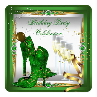 """High Heel Shoes Champagne Green Gold Silver 5.25"""" Square Invitation Card"""
