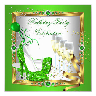 High Heel Shoes Champagne Green Gold White 3 5.25x5.25 Square Paper Invitation Card
