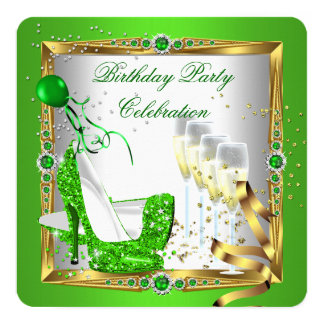 """High Heel Shoes Champagne Green Gold White 3 5.25"""" Square Invitation Card"""
