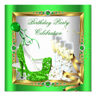 """High Heel Shoes Champagne Green Gold White 4 5.25"""" Square Invitation Card"""