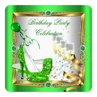 High Heel Shoes Champagne Green Gold White 4 5.25x5.25 Square Paper Invitation Card