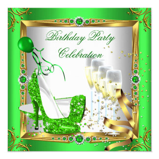 High Heel Shoes Champagne Green Gold White 4a 13 Cm X 13 Cm Square Invitation Card